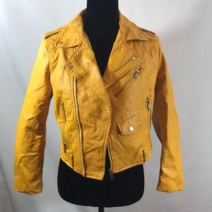ZARA BASIC Faux leather Mustard Gold Jacket/MED